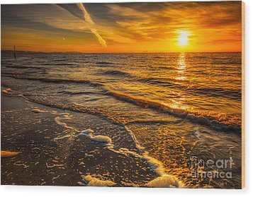 Sunset Seascape Wood Print by Adrian Evans