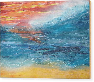 Sunset Seascape Wood Print by Judi Goodwin