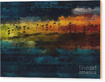 Wood Print featuring the digital art Sunset Serenade by Lon Chaffin