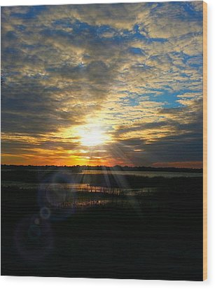 Sunset Sets Off Cloud Explosion Wood Print