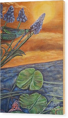 Wood Print featuring the painting Sunset Setting Over A Dragonfly On A Water Lily Pond by Kimberlee Baxter