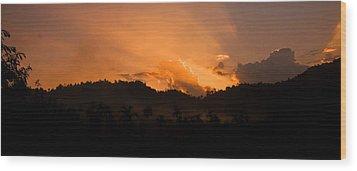 Sunset Silhouette Wood Print by Kim Lagerhem