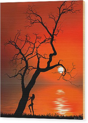 Sunset Silhouettes Wood Print by Igor Zenin