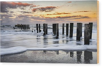 Sunset Silk Wood Print by Mike Lang