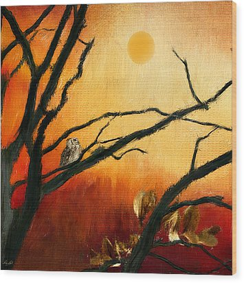 Sunset Sitting Wood Print by Lourry Legarde