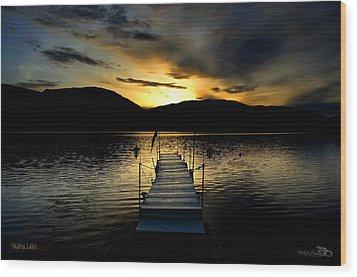 Sunset Skaha Lake Wood Print