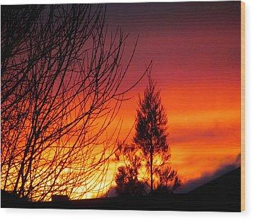 Sunset Sky . Wood Print by Joyce Woodhouse