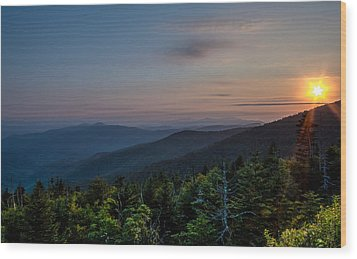 Sunset Smokey Mountains  Wood Print by Kelly Marquardt