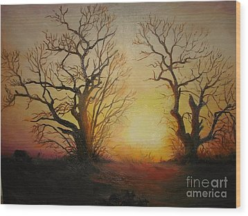 Wood Print featuring the painting Sunset by Sorin Apostolescu