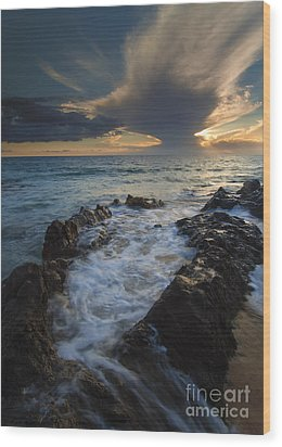 Sunset Spillway Wood Print by Mike  Dawson