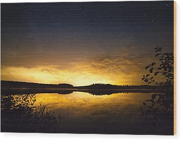 Sunset Star Landscape Wood Print
