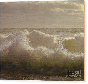 Sunset Storm Surf Wood Print