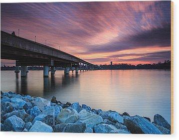 Sunset Streaks Wood Print by Jennifer Casey