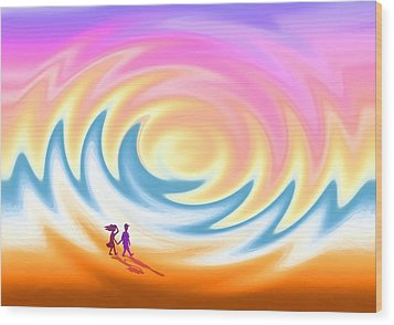 Sunset Stroll On A Windy Beach Wood Print