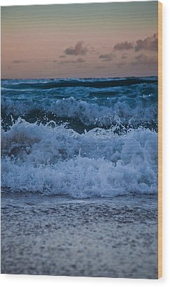 Sunset Surf Wood Print by Carole Hinding