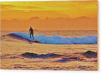 Sunset Surf Wood Print