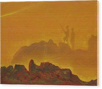 Wood Print featuring the painting Sunset Surf Fishermen by Thomas Bertram POOLE