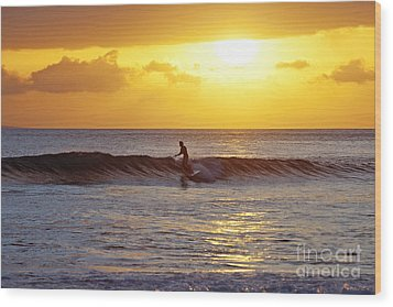 Sunset Surf Maui Wood Print