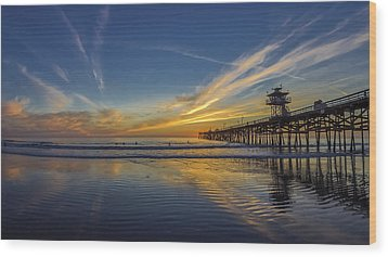 Wood Print featuring the photograph Sunset Surf by Sean Foster