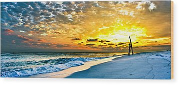 Sunset Surfer Wood Print by Eszra Tanner
