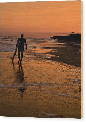 Sunset Surfer Hilton Head Sc Wood Print by Sally Ross