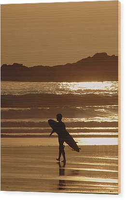 Sunset Surfer Wood Print by Ramona Johnston