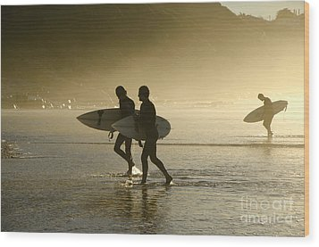 Sunset Surfers Biarritz Wood Print by Perry Van Munster