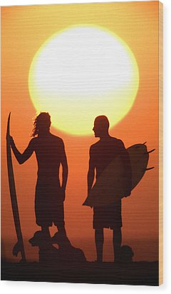 Sunset Surfers Wood Print by Sean Davey