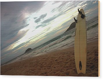 Sunset Surfing  Wood Print by Frederico Borges