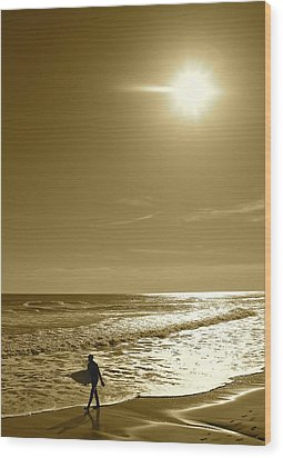 Sunset Surfing Wood Print