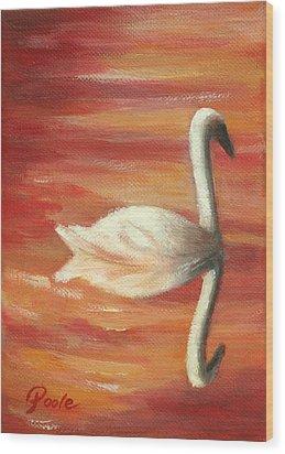 Sunset Swan Wood Print