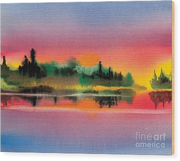 Wood Print featuring the painting Sunset by Teresa Ascone