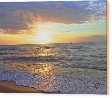 Sunset Wood Print by Ute Posegga-Rudel