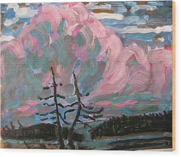 Wood Print featuring the painting Sunset by Vikram Singh