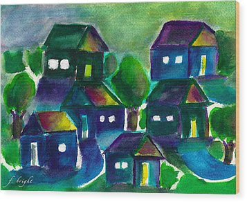 Wood Print featuring the painting Sunset Village Watercolor by Frank Bright