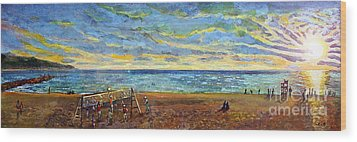 Sunset Volleyball At Old Silver Beach Wood Print by Rita Brown