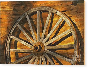 Sunset Wagon Wheel Wood Print by Michael Cinnamond