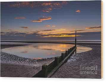 Sunset Wales Wood Print by Adrian Evans