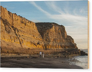 Sunset Walk At Flat Rock  La Jolla California Wood Print