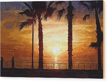 Sunset Walk Wood Print by Kirt Tisdale