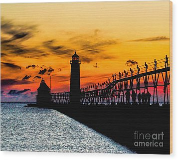 Sunset Walking On Grand Haven Pier Wood Print