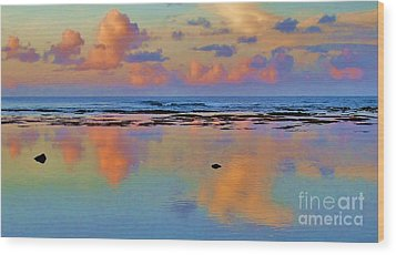 Sunset Water Color Wood Print by Michele Penner
