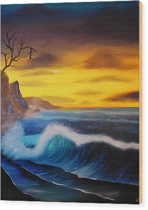 Sunset Wave Wood Print by Charles Eagle