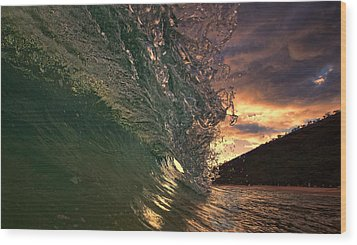 Sunset Wave Wood Print by James Roemmling