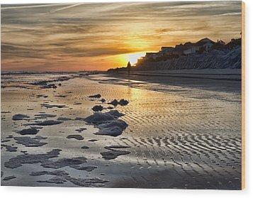 Sunset Wild Dunes Beach South Carolina Wood Print by Evie Carrier