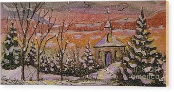 Sunset Winter Church Wood Print by Gretchen Allen