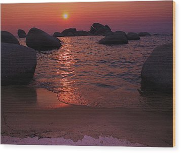 Wood Print featuring the photograph Sunset With A Whale by Sean Sarsfield