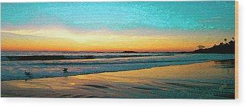 Sunset With Birds Wood Print by Ben and Raisa Gertsberg