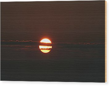 Sunset With Cloud Wood Print by Carolyn Reinhart