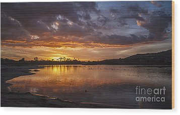 Sunset With Clouds Over Malibu Beach Lagoon Estuary Wood Print